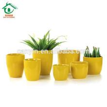 Желтый Мода Домашнее украшение Керамический горшок для плантатора