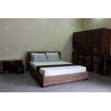 Cama de jacinto de água natural Design simples para móveis de quarto