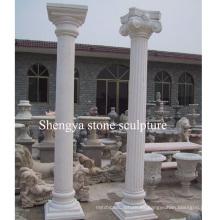 Columna de escultura de piedra de mármol blanco (SY-C013)