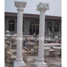Colonne de sculpture en pierre de marbre blanc (SY-C013)