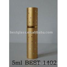Frasco de perfume 5ml de alumínio com cor amarela e impressão
