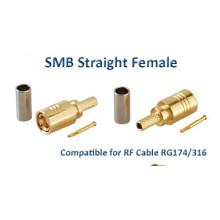 Conector RF SMB Isolador PTFE Fêmea