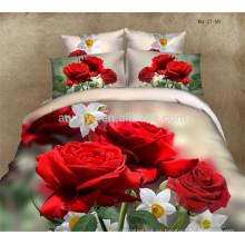 El lujo de la boda del edredón cubre el lecho fija las rosas rojas románticas hermosas