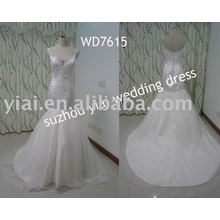WD7615 Spaghetti Strap Meerjungfrau Schatz Bling echte Probe Hochzeitskleid