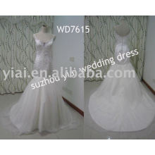 WD7615 Spaghetti Strap Mermaid Sweetheart Bling Real Sample Wedding Dress