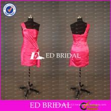 2017 ED Bridal Real Sample One Shoulder Sheath Short Watermelon Red Taffeta Cocktail Dress