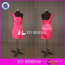 2017 ЭД реальный образец невесты одно плечо оболочка короткие арбуз Красный Тафта коктейльное платье