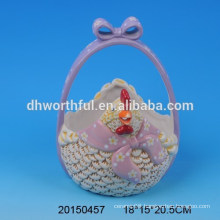 Ceramic portable easter eggs storage baskets