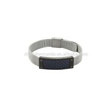 Acero inoxidable 8mm acero mush banda reloj con fibra de carbono azul en las ventas