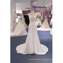 Laço de chiffon Beading um vestido de noiva de praia de linha