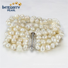 8mm AA 5 lignes Bracelet perle baroque d'eau douce