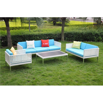 Open weave L shape wicker sofa set