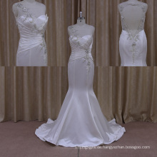 Schimmernde Rickrack Bluse Satin Custom Beach Wedding Dress