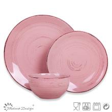 Set de cena de cerámica de 18 piezas con gres marrón
