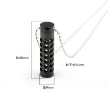 Collier magique en bijoux en bouteille de parfum en acier inoxydable avec couleur noire