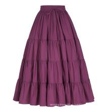Belle Poque Mujer Vino Sólido Rojo Color Ancho De Algodón Falda Maxi Falda Larga BP000207-2
