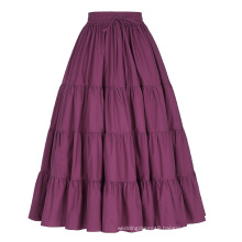 Belle Poque Women's Solid Wine Red Color Wide Hem Cotton Maxi Skirt Long Skirt BP000207-2