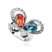 Anéis bonitos da amizade da forma do diamante da forma da borboleta