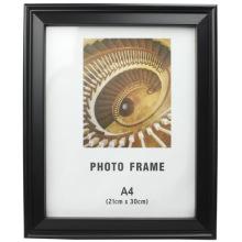 Schwarz A4 Kunststoff Bilderrahmen kann auf Tisch oder an der Wand stehen.