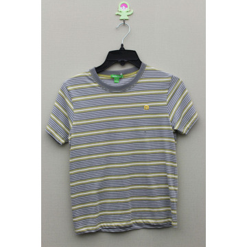 Boy's 100% Cotton Yarn Dyed T-Shirt with Logo Embroidery