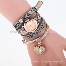 2015 El nuevo abrigo de la manera alrededor del reloj de cuero largo del reloj de los relojes del cuarzo de la muñeca de las mujeres del rhinestone cristalino del reloj de la pulsera BWL003
