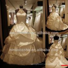 Вопрос-6261 круглый-образным вырезом Холтер свадебное платье атласная бальное платье Принцесса свадебные платья 2012