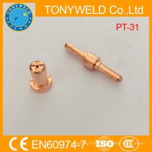 Consommables plasma pt31 pointe de coupe de gaz à longue électrode