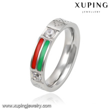 13941 Fashion Cool anillo de dedo de plata de acero inoxidable chapado en plata con circón cúbico