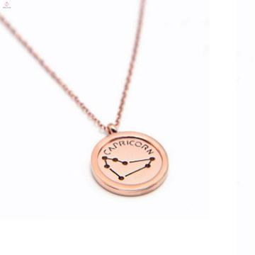 Mode Rose Gold Edelstahl Charm Horoskop Halskette