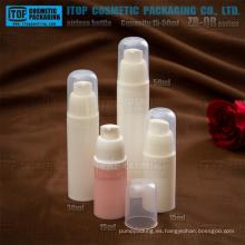 Serie de ZB-QR 15ml 30ml 50ml tapa loción bomba pulverización redondeada cabeza todo plástico pp blanco privado de aire botella