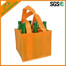 barato personalizado saco de garrafa de vinho não tecido com alça extensa para o fundo
