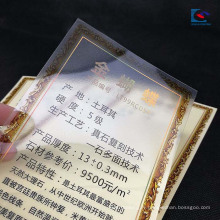 Étiquettes de granit de vernis de PVC de vernis de PVC transparent mat