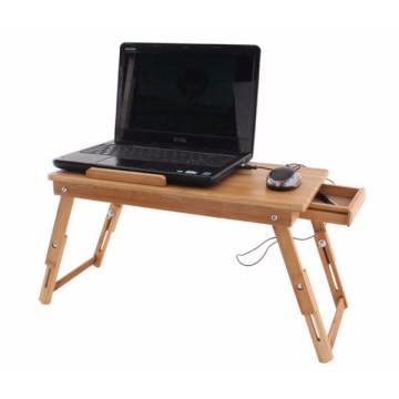 mesa plegable de escritorio de computadora portátil ajustable de bambú