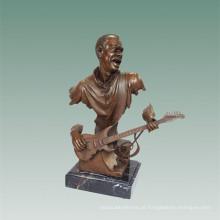 Busto Bronze Estátua Guitarra Elétrica Decoração Bronze Escultura Tpy-489