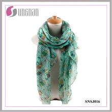 2016 elegantes ramas y búhos patrón impreso damas / mujeres bufanda de la gasa