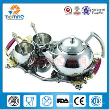 8pcs silver stainless steel tea pot set