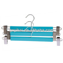 colorful wooden skirt hanger with metal clips