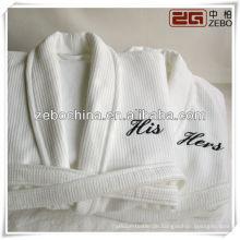 Modische weiße Schal Kragen Großhandel Luxus Paar Hotel Leinen Bademantel