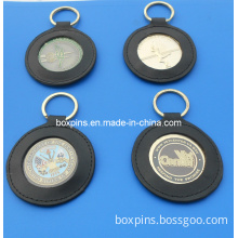 Coin Key Chain with Leather Holder (BOX-LUK-metal key chain-051)