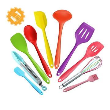 Color customized 10 pieces kitchen cooking silicone utensils set