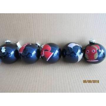 Balle en verre bleu avec étiquette pour décoration de Noël