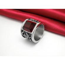 Esculpida vermelho escuro zircão clássico titanium aço anéis moda jóias