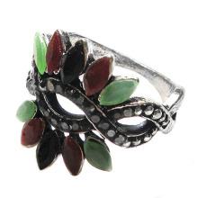 Ladies fashion resin inlaid Flower Ring antique silver zinc alloy latest finger rings for woman