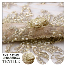 Oem polyester broderie cristal perlé or dentelle tissu pour robe