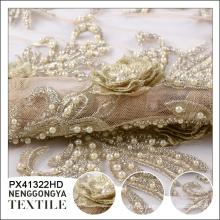 Oem poliéster bordado cristal frisado tecido de renda de ouro para o vestido
