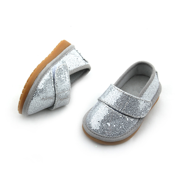 Funny Silver Faux Sequins Squeaky Baby Shoes