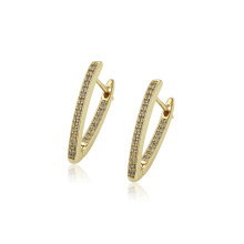 97412 xuping fashion simple style 14k gold color zircon paved women's  hoop Earrings