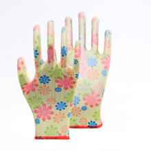 Colorful Floral Print PU Work Protective Gloves