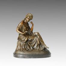 Classique Bronze Jardin Sculpture Maiden / Lady Decoration Statue en laiton TPE-106