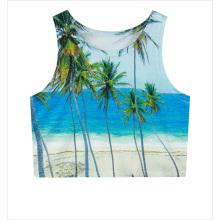 Coconut tree print sleeveless vest